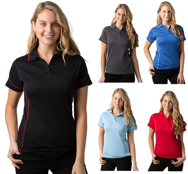 Ladies screen printed polo shirts are lightweight for Screen printed polo shirts