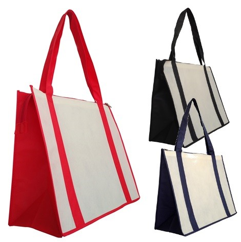 87a384b14c9b69 Zip up your promotional message on Printed Large Zipped Shopping Bags.