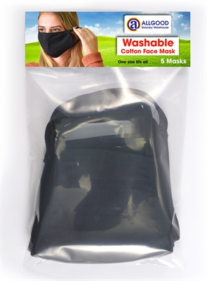 5 Pack Black 3 Layer Face Masks