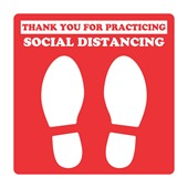 250mm Square Social Distancing Floor Decal