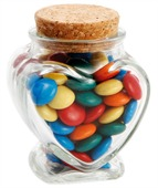 90 gram Glass Heart Jar M&Ms