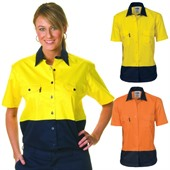 Ladies High Vis Cotton Work Shirt