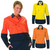 Ladies Long Sleeve Hi-vis Work Shirt