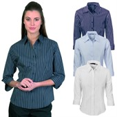 Ladies Stretch Striped Business Shirt