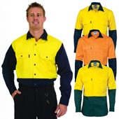 Long Sleeve Cotton Drill Hi Vis Shirt