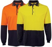 Long Sleeve Cotton Hi Vis Polo