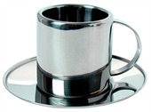 Metal Espresso Cup and Saucer